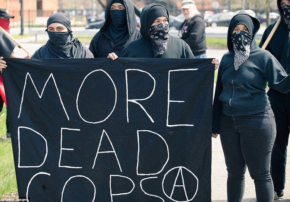 Antifa encouraging killing police officers.