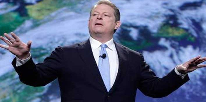 Al Gore expounding on global warming