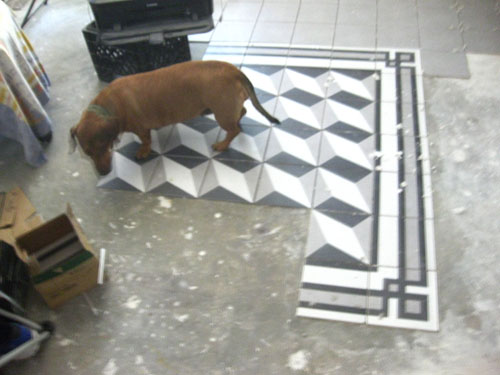 A 3D ceramic tile pattern