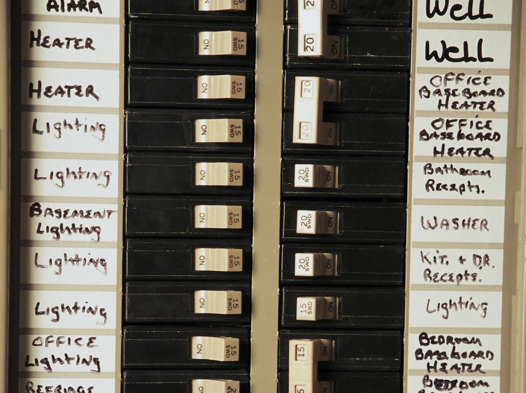 A properly-labeled circuit breaker panel