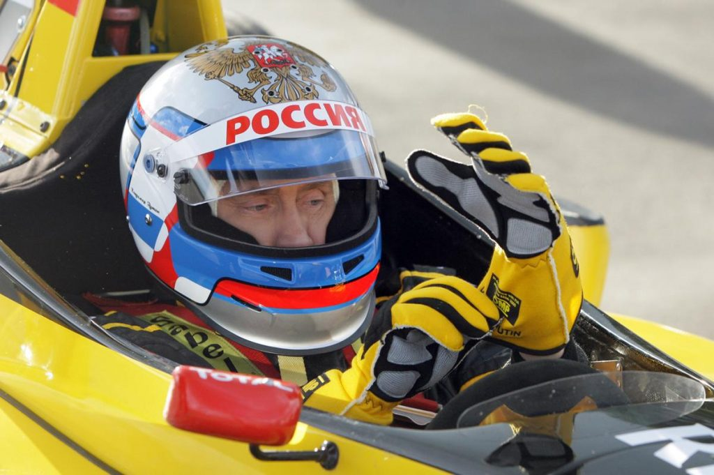 Putin poses as a race car driver