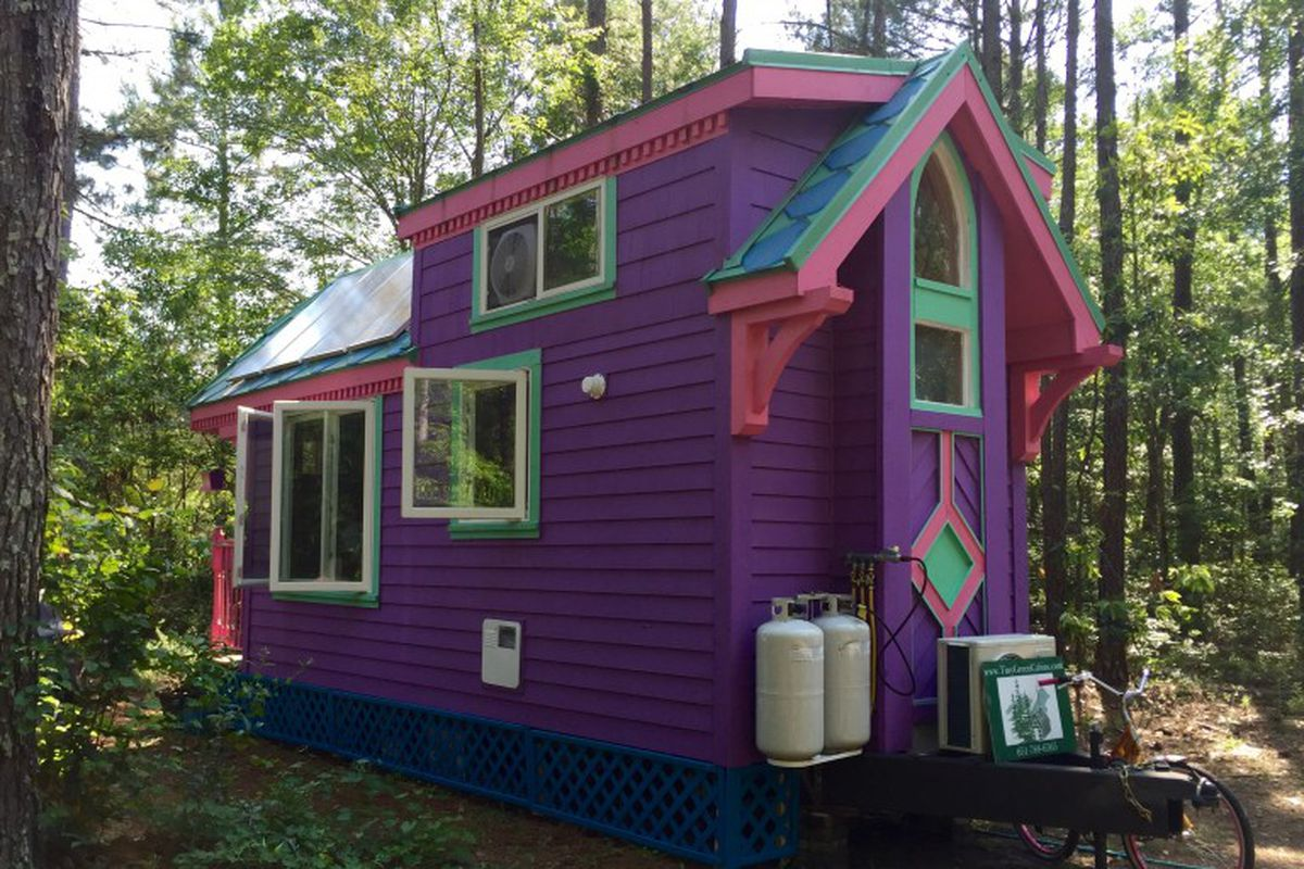 A tiny purple house