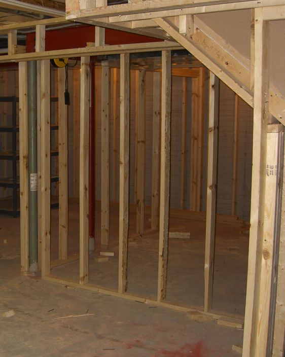 Wood framing in a basement