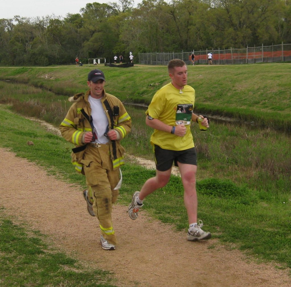 A Racing Firefighter at the Lucky Trails Marathon.