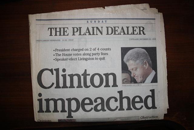 President Bill Clinton Impeached Newspaper Headline