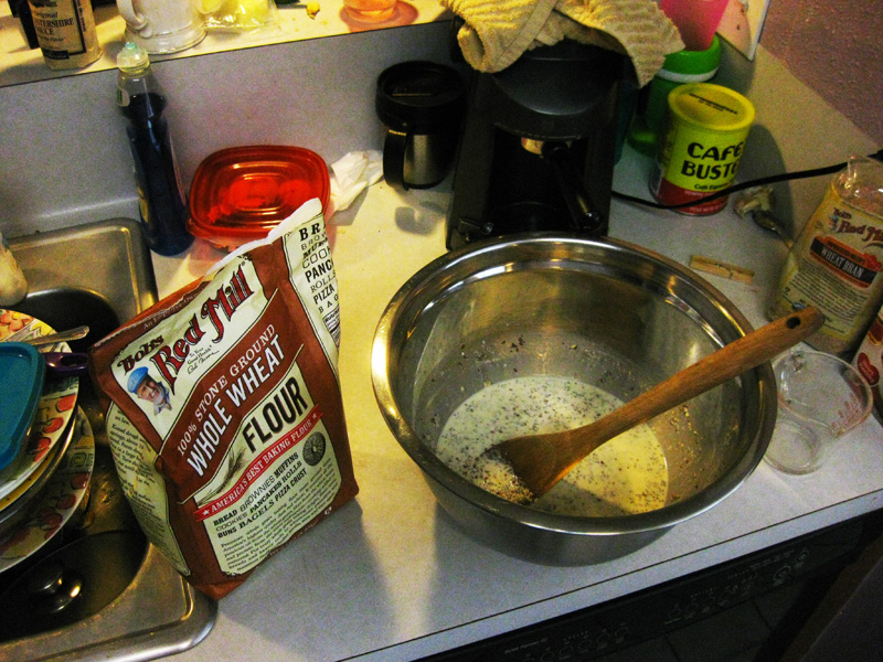 Mixing ingredients for oatmeal flax seed bread