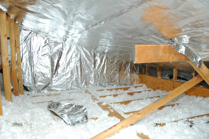 Radiant barrier staple-up foil and loose fill insulation