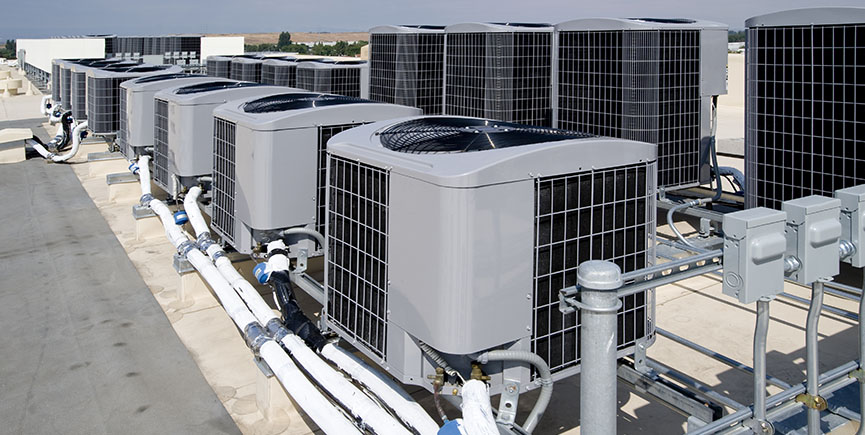 Air conditioner farm on a rooftop