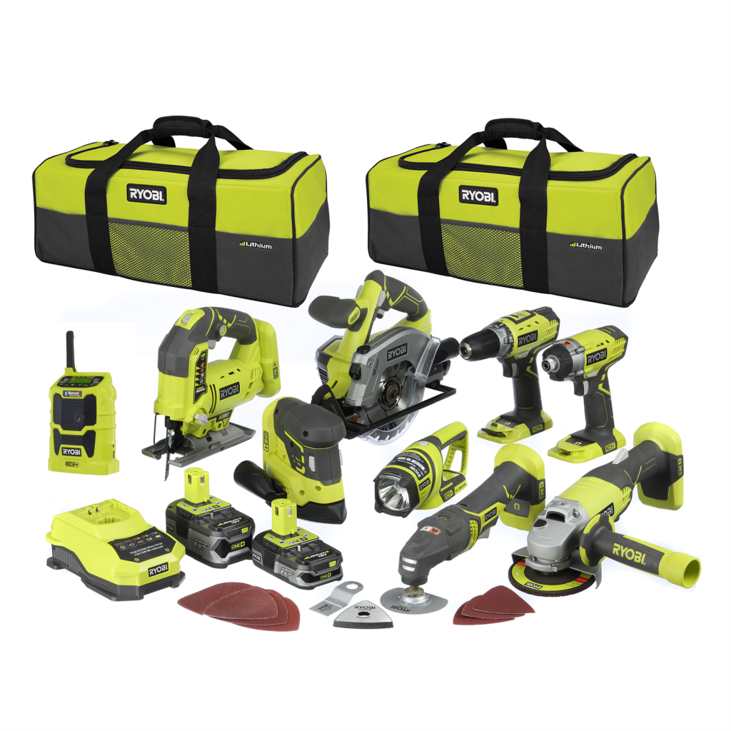 A selection of Ryobi 18V ONE+HP power tools