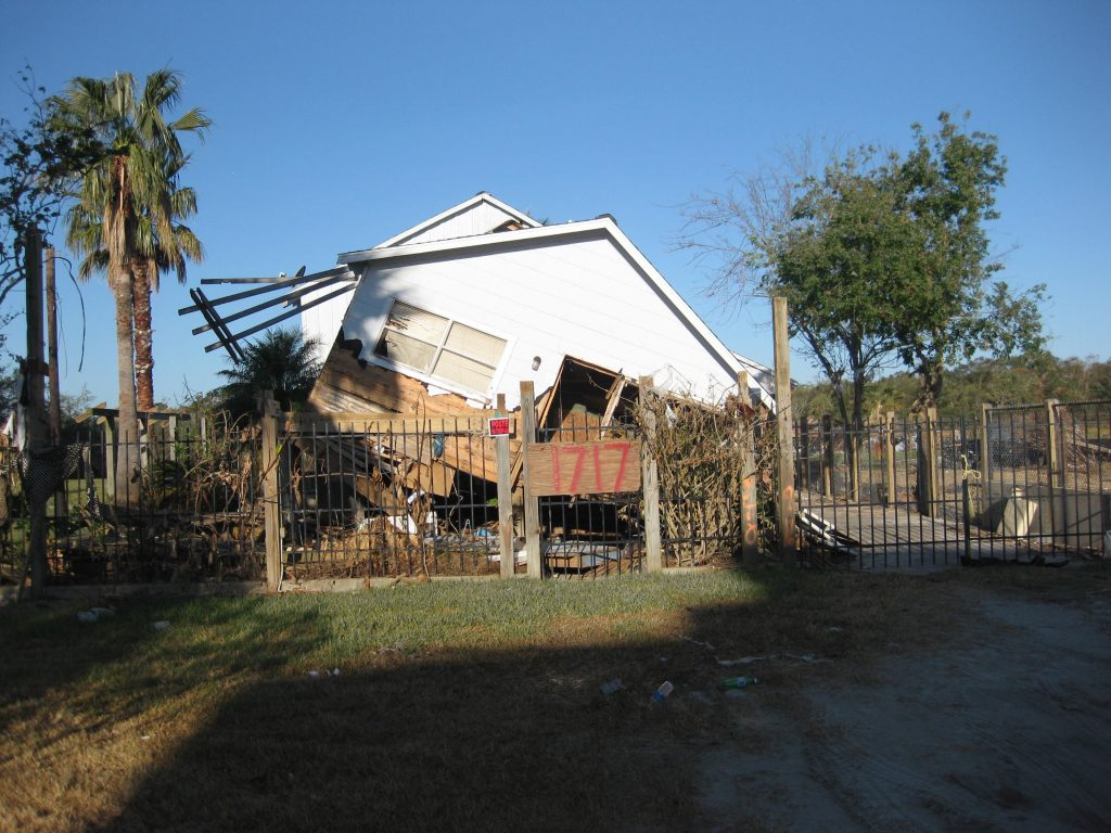Home damage from Hurricane Harvey in Seabrook, Texas