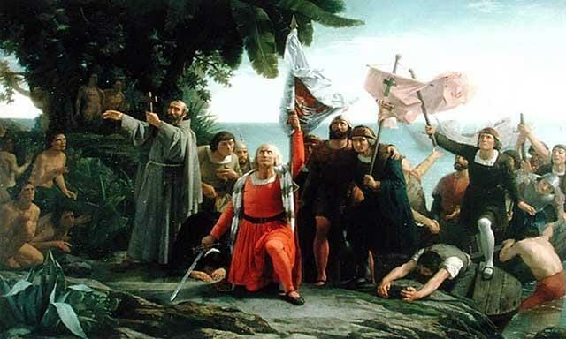 Christopher Columbus discovers land