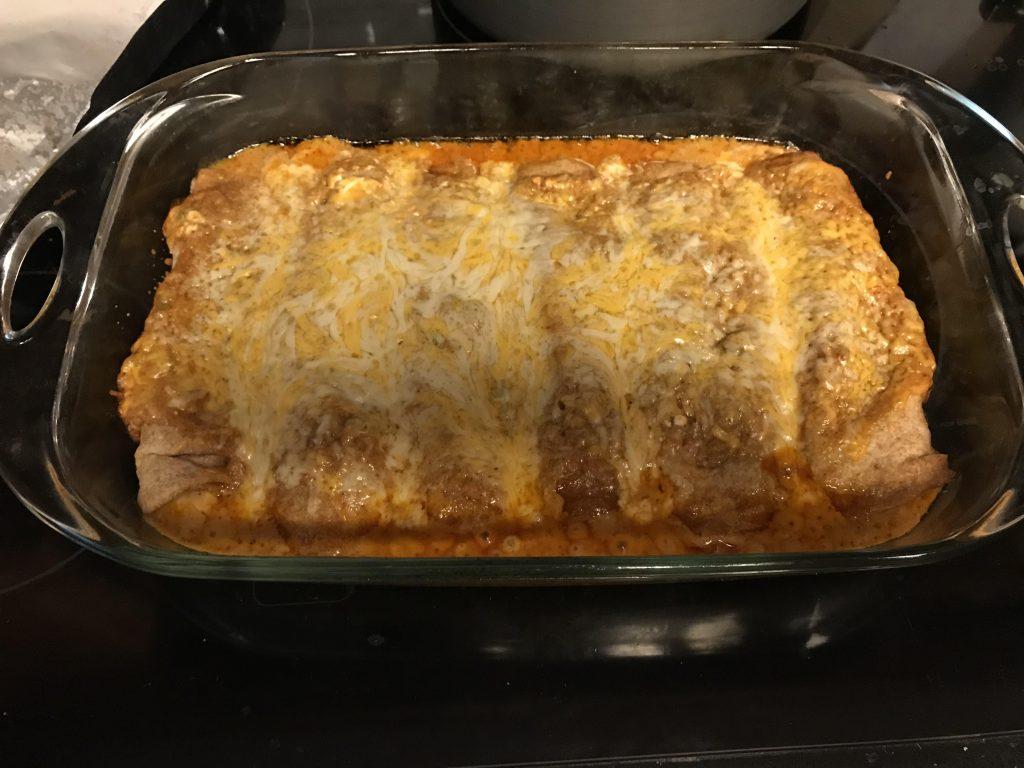 Chicken enchiladas in the pan
