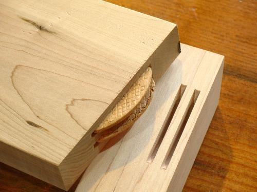 A double biscuit joint ready for glue-up