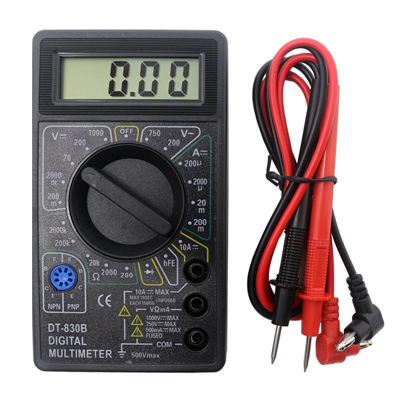 A typical digital multimeter and leads