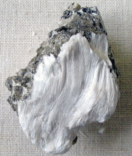 A sample of asbestos fiber with muscovite; image courtesy Aramgutang