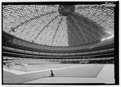 Astroturf synthetic grass in the Astrodome, Houston Texas; photo courtesy Library of Congress