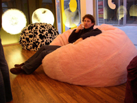 Bean bag chairs are economical and stylish; photo courtesy Daveybot