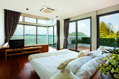 A bedroom overlooking the bay