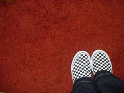 Red carpet and checkered shoes; photo courtesy Sarah Harris