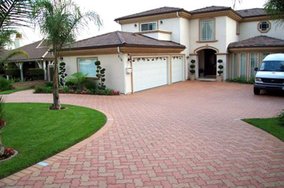 Clay Brick Driveway Pavers; photo courtesy Pacificoutdoorliving