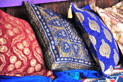 Colorful pillows with an international flair