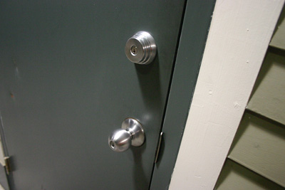 A door knob and deadbolt; photo courtesy Brian Katt