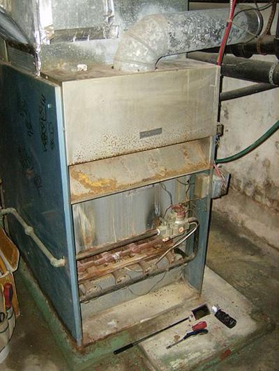 A downflow gas furnace; photo courtesy Camzmac