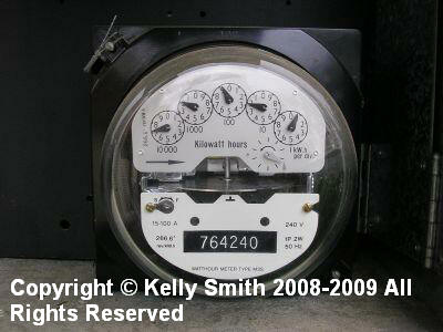 A typical electric meter; photo © 2009 KSmith Media, LLC