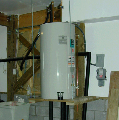 An electric hot water heater; photo courtesy FEMA