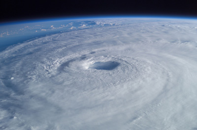 Eye of Hurricane Isabel as seen from the International Space Station; photo courtesy NASA