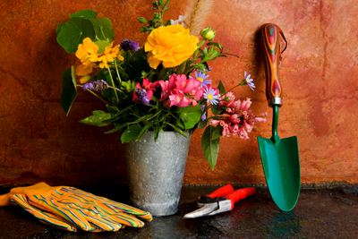 Flowers and gardening tools; photo courtesy Ella Andrews