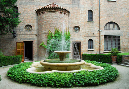 A country estate courtyard fountain