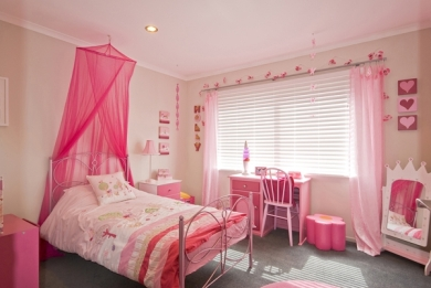 Girl's Bedroom Decorated in Pink