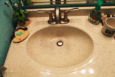 A granite composite bathroom sink; photo © KSmith Media, LLC