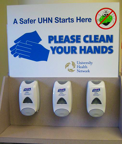 A Hand cleaning station; photo courtesy James Heilman, MD