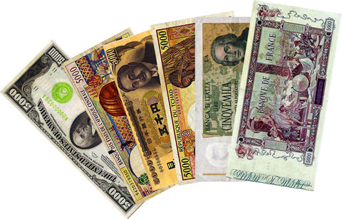 An assortment of international currency