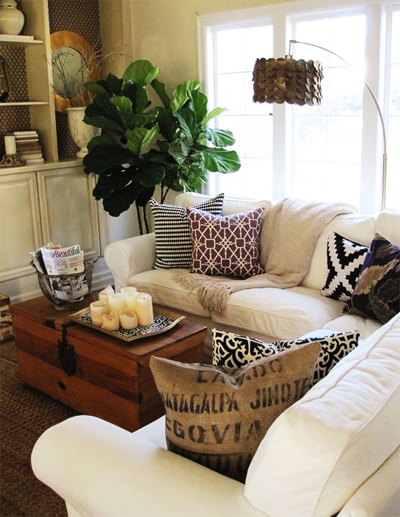 A living room with a white sofa; photo couttesy Brionna Kennedy