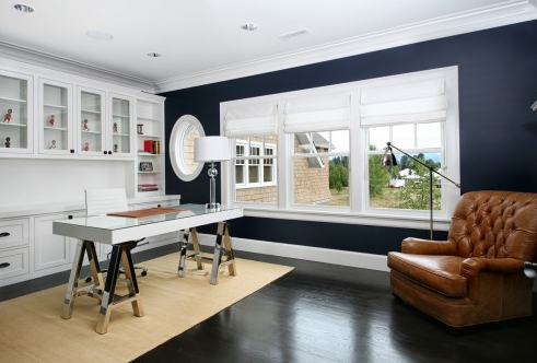 A navy blue accent wall