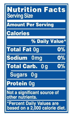 Zero Calorie Nutrition Label