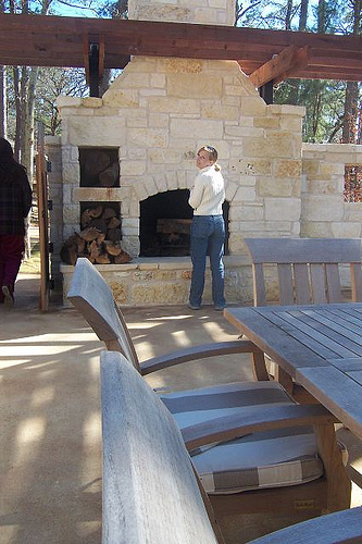 An outdoor patio and fireplace; photo courtesy Sarah Harris