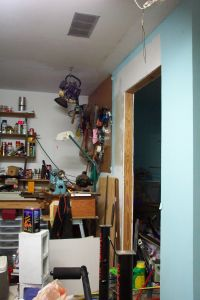 A cluttered garage in need of spring cleaning, photo by Kelly Smith