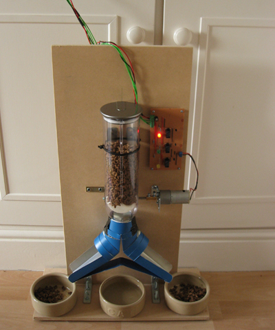 Remotely controlled pet feeder; photo courtesy MJN123