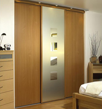 A fitted wardrobe with sliding doors; photo courtesy Wikipedia Commons