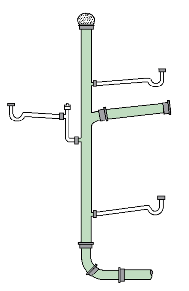 A plumbing soil stack (stink pipe); image courtesy Martin2Reid