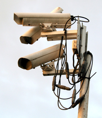 A group of surveillance cameras; photo courtesy Hohum