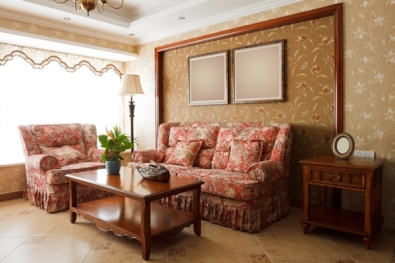 Woodland wallpaper theme for a relaxing living room