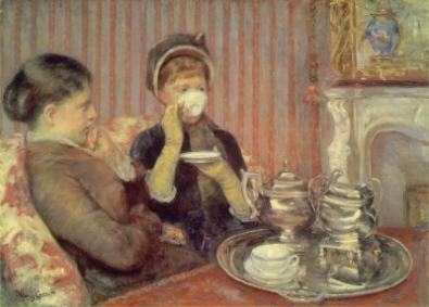 Tea, a painting by Mary Cassatt