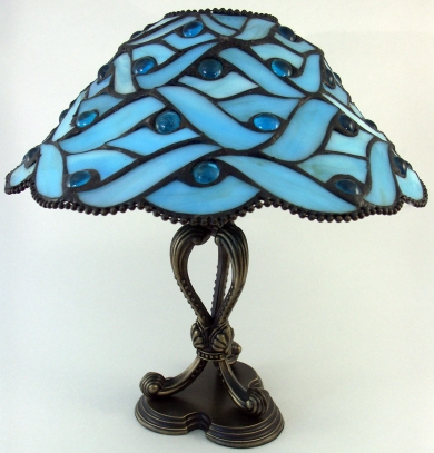 A classic tiffany lamp shows the beautiful blue color, photo courtesy of DontBeBlue