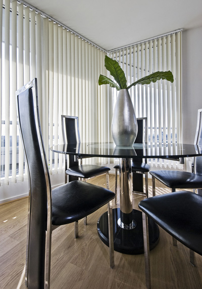 Vetical blinds in the dining room; photo courtesy Nicola Winters