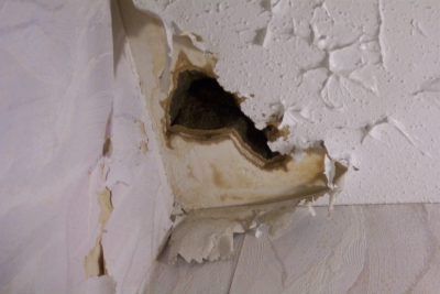 A Hole in a Drywall Ceiling
